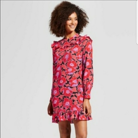 Who What Wear Poppy Red Purple Floral Dress 9d9bed435